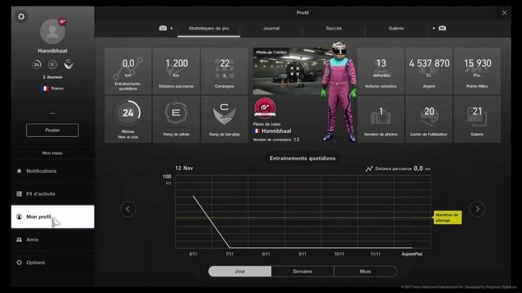 GT Sport - Profil joueur